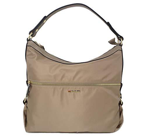Simply Noelle Go Girl Nylon Fabric & Vegan Trim Classic Hobo Handbag (Taupe)
