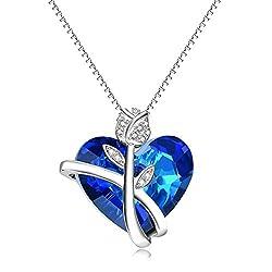 Sterling Silver Rose Flower Pendant with Blue Swarovski Crystals