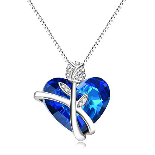 AOBOCO Sapphire Rose Necklaces for Women Wife Girlfriend Sterling Silver Swarovski Blue Heart Crystals Jewelry Anniversary Birthday Gift for Her Fiance Daughter Lover Sister Friend (Rose Heart Blue)