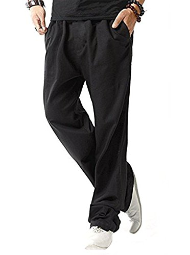 (SIR7 Men's Linen Casual Lightweight Drawstrintg Elastic Waist Summer Beach Pants Black S)