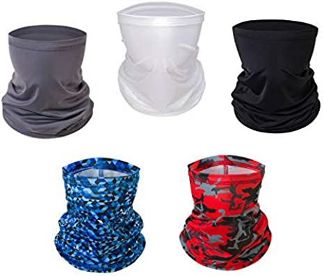 5pcs MorePro Innovative Fabric Neck Gaiter Dust Sun UV Wind Protection for Hiking Cycling and Climbing Men Women Women