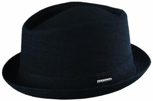 Hat Windowpane Cap (STETSON COTTON TEXTURED WINDOWPANE DIAMOND CROWN HAT (L, BLACK))