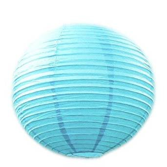 Perfectmaze 12 Piece Set 10 Inch Aqua Blue Round Chinese Paper Lantern for Wedding Party Engagement Decoration
