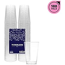 Elite Selection 8 Oz. Pack Of 100 Clear Hard Disposable Party Plastic Tumblers/Cups