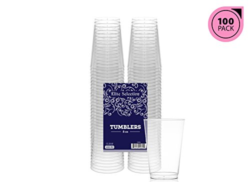 8 Ounce Clear Tumbler (Elite Selection 8 Oz. Pack Of 100 Clear Hard Disposable Party Plastic Tumblers/Cups)