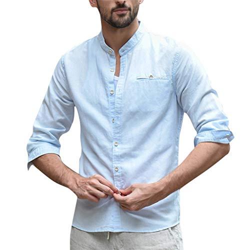 (Mens Blouse Linen Shirt Casual Button Down 3/4 Sleeve Cotton Curved Hem Lightweight Summer Beach Tops Tees)