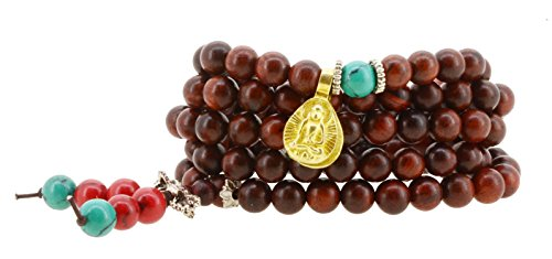 Handmade Zen Tibetan Elastic String 8mm Red Wood Imitation Turquoise 108 Prayer Beads Yoga Meditation Wrap Bracelet Mala with Removable Charms (Buddha…