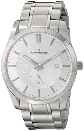Claude Bernard Men's 65002 3 AIN2 Classic Small Second Analog Display Swiss Quartz Silver Watch