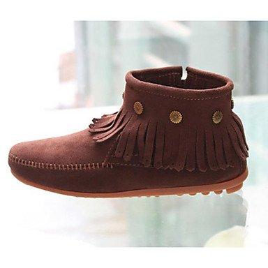Botas de mujer invierno PU confort informal café amarillo claro negro 1A-1 3/4 pulg. Coffee