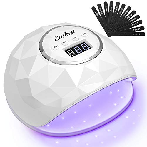 86W Fast Nail Dryer, Easkep LED Light Curing Lamp for Gel Polish Professional Salon with 4 Timer Setting Auto Sensor for Fingernail and Toenail Machine with 12 PCS Nail Files (2020 NEWEST) (White) (Color: White)