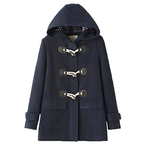 WSLCN Classic Duffle Coat Woolen Fleece Women Trench Coat Hooded Winter Casual Outerwear Hoodie Horn Buttons Peacoat Pockets Thick Coat Snowsuit Dark Blue US 14 (Asian ()