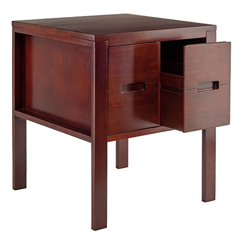 Transitional 2-Front Faced Slide-Out Corner Accent End Table in Walnut by Generic