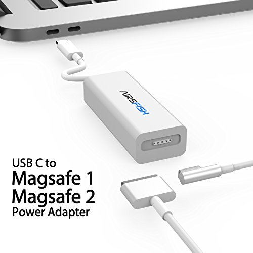 Magsafe to Usb C Converter, AirsFish Usb Type C to Magsafe 1 (L- Tip) and Magsafe 2 (T-Tip) Power Adapter Connector Cable for Macbook/Macbook Pro/Switch/Laptop/Phone and other Usb C Devices. (White) by AirsFish
