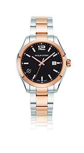 Philip Stein Men's 'Traveler' Swiss Quartz and Stainless Steel Casual Watch, Color:Two Tone (Model: 92TRG-CBKRG-SSTRG)