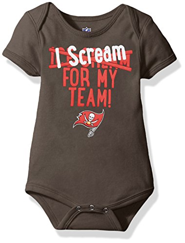 OuterStuff NFL Infant Team Scream Short Sleeve Onesie-Pewter-12 Months, Tampa Bay (Tampa Bay Buccaneers Infant Onesie)