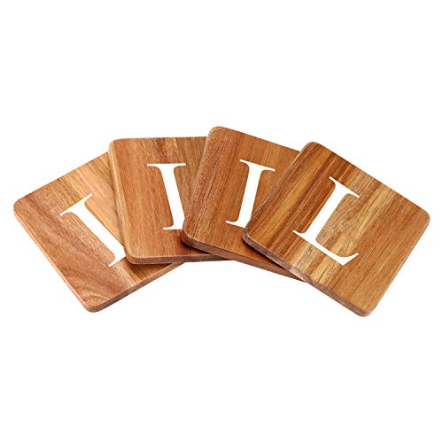 Wood Coasters for Drinks - 4-Pack Square Cup Coasters Personalized Monogram Coasters | Funny Housewarming Gift Wedding Decorations Or Even For Your Kitchen, Office Desk & Coffee Table]()