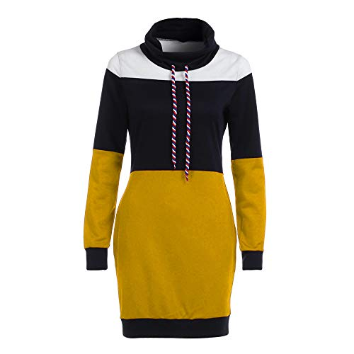 Connia Casual Women's Dress, Collared Straight Long Sleeve Patchwork Short Mini Dress (Yellow, L) -