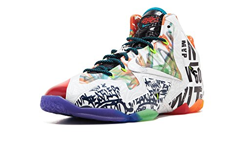 (NIKE Mens Lebron XI Premium What The Lebron Black/Lava/Silver-Galaxy Blue Synthetic Basketball Shoes Size 10)