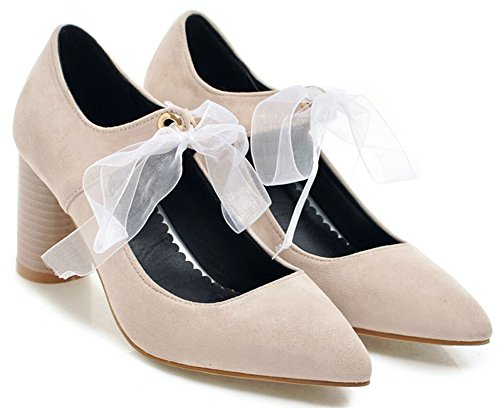 Idifu Womens Sweet Faux Suede Mid Chunky Heeled Lace Up Lace Up Bruiloften Pumps Beige