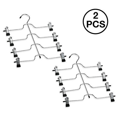 Pants Hangers by ReSkirt Organizer | 2 Set of Ultra Space Saver Skirt Hanger with 4-Tier Skirt Organizer Chrome Metal Frame and Super Strong Swivel Clip | Trouser Hanger for Skirt Dress Pants | Silver