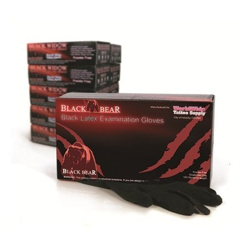 MEDIUM Black Bear Exam Grade Black Latex Disposable Gloves (Powder Free) 100pcs/box (Black Knight Best Gloves)