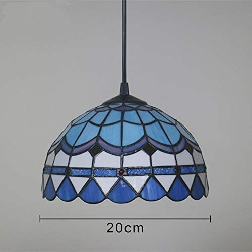 ANYE 20ft UL Plug-in Cord Tiffany Colorful Glass Shade Pendant Lighting Handmade Light Fixtures Antique Decor with On Off Dimmer Switch Bulb Not Included