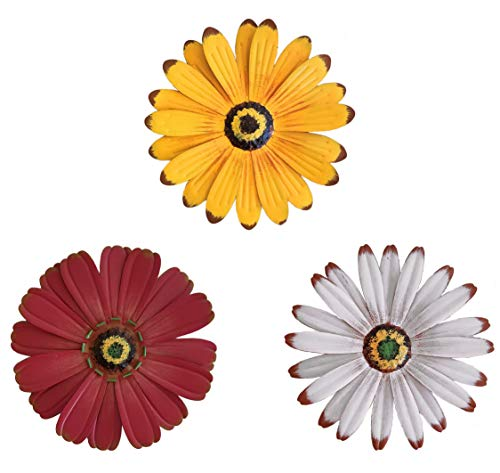 (OSW Large Flowers Metal Wall Decor, One White, One Yellow, One Red Flower, for Indoor Living Room, Bedroom, Bathroom or Outdoor Art Garden and Patio)