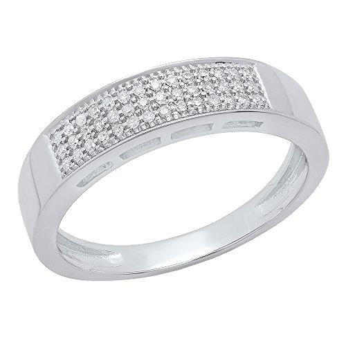 Dazzlingrock Collection 0.15 Carat (ctw) 10K Round White Diamond Men's Micro Pave Wedding Band, White Gold, Size 10 (Gold White Pave Micro)