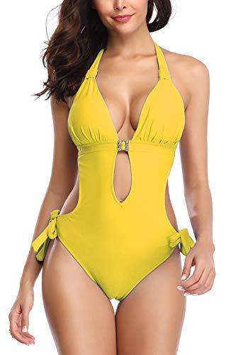 Eomenie Monokini Swimsuits for Women One Piece Bathing Suit Cutout Tummy Control V-Neck Ties Halter Swimwear (X-Large, Yellow)