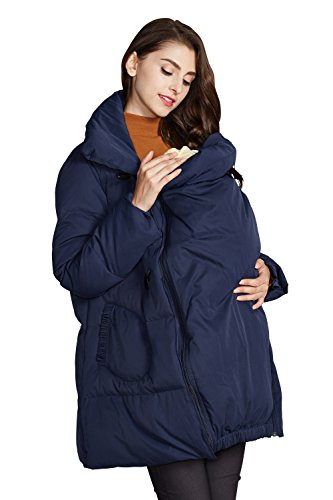 Sweet Mommy Maternity and Mother's Down Duffle Coat With Baby Wearing Pouch Navy, 3L (Maternity Coat Petite)