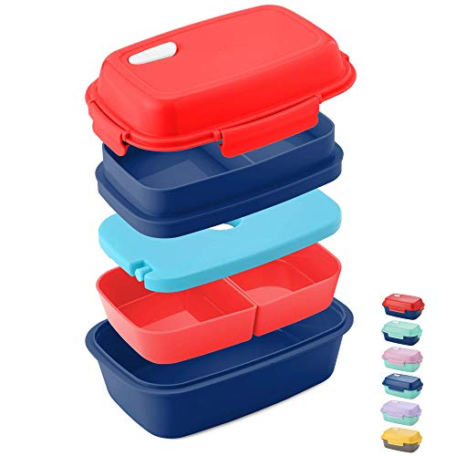 (Ultimate Bento Box - Lunch Box for Kids & Adults - 100% Leakproof - Multi Compartment Food Container with Removable Containers and Ice Pack - Microwave & Dishwasher Safe (Red, Blue, Red))