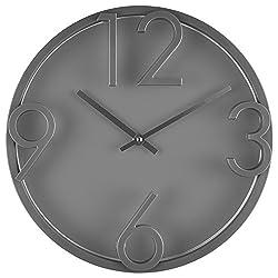 Bernhard Products - Large Modern Wall Clock , 12 Gray Quality Quartz Battery Operated Round Decorative Elegant Home Clock