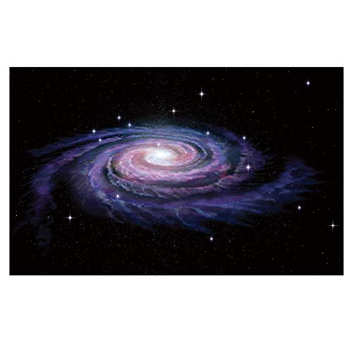 3D Floor/Wall Sticker Removable,Galaxy,Celestial Dust Votex Spiral Galaxy Nebula Fantasy Spark Plasma Stars Planet Print,Black Purple,for Living Room Bathroom Decoration,35.4x23.6
