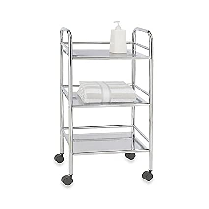 wenko 3 tier bathroom cart with 4 easy rolling castors in chrome finish - Bathroom Cart