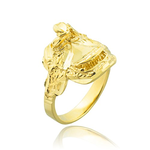 Fine 14k Yellow Gold Country Girl Band Western Riding Saddle Ring (Size 9)