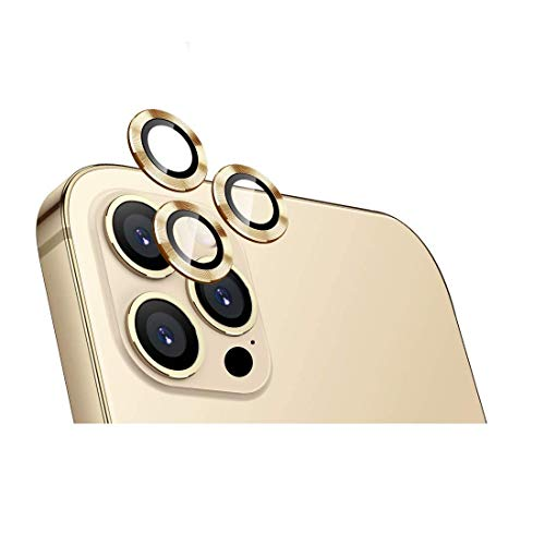 Midkart Camera Lens Protector Compatible with iPhone 12 Pro Max (6.7 Inch) Aluminium Alloy Metal Ring Anti-Scratch Bubble-Free Camera Lens Tempered Glass Protector, Gold