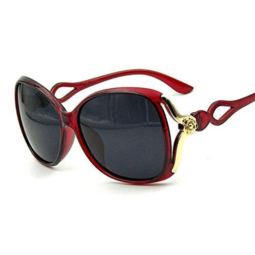 Grande De De Sol Retro Abierto Red Polarizador Marco Sol Black A Gafas Gafas Cielo Tallado Dama IxqwzRH1