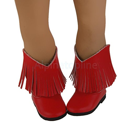 Trendy Red PU Tassel Boots Shoes for 18inch American Girl Dolls Party Dress by alpinetopline