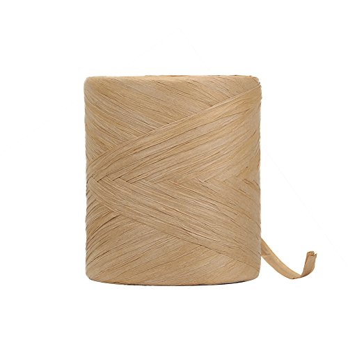 HRX Package Raffia Paper Craft Ribbon, 218 Yards by 1/4 inch Width Kraft Matte Paper Ribbon  for Christmas Gifts, Craft DIY Supply, Wrapping Hanging Tags (Kraft)