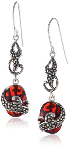 Sterling Silver Oxidized Genuine Marcasite and Red Glass Layered Dangle (Sterling Silver Garnet Marcasite Earrings)