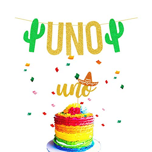 JeVenis Set of 2 UNO Cake Topper UNO Banner Fiesta Cake Topper Cactus UNO Cake Topper for Mexican Birthday Decoration Fiesta First Birthday Banner Taco About a -