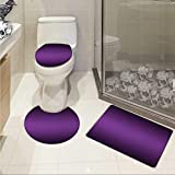 Ombre bathmat toilet mat set Cinema Curtain Movies Series Inspired Color Ombre Design Digital Artsy Styled Print Image Non-slip Soft Absorbent Bath Rug Purple
