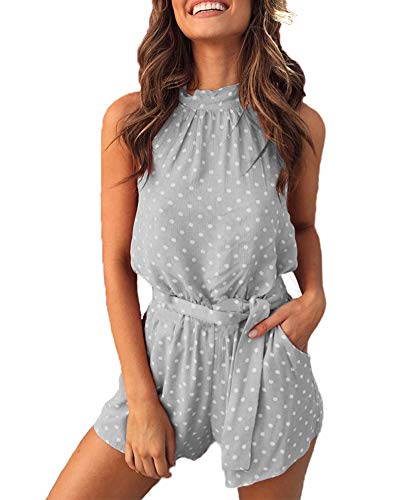 Uni Clau Womens Summer Polka dot Printed Halter Neck One Piece Short Jumpsuits Rompers with Pockets Grey ()