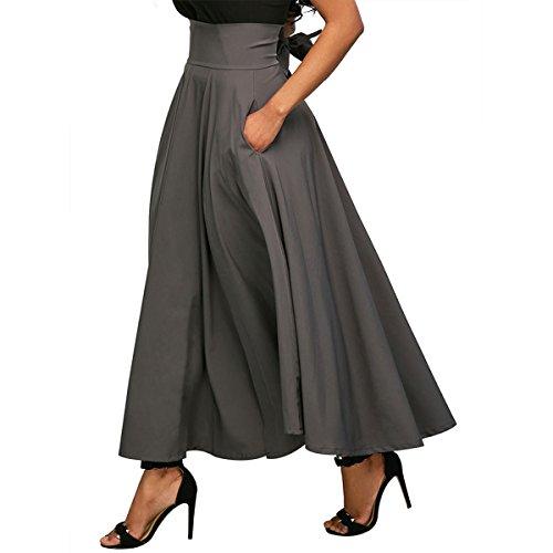 Les Femmes Aisa Jupe Plissée Millésime Long Parapluie Dos Bowknot Gris Robe De Cocktail Maxi Fermeture Éclair