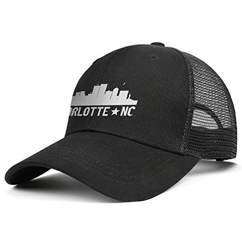Unisex Casual Mesh Baseball Cap-Charlotte North Carolina Skyline NC City Style Adjustable Fits Travel Sunscreen Hat - Charlotte Baseball