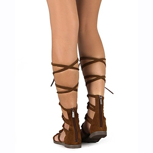 Breckelles Dg23 Sandalo Flat Gladiator Annodato In Pelle Scamosciata Con Peep Lace Annodato, 5,5