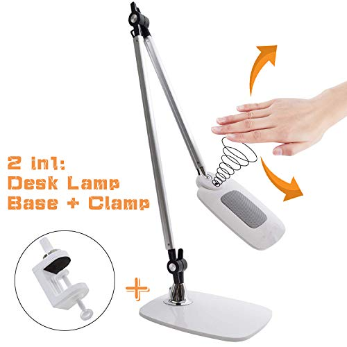 Architect LED Desk Lamp and Clamp Table Lamp,Gesture Control and Touch Sensitive Control Panel, Memory Function, Adjustable Tall Drafting,3 Color Modes, 12 Levels Dimmer, Eye Care Table Lamp