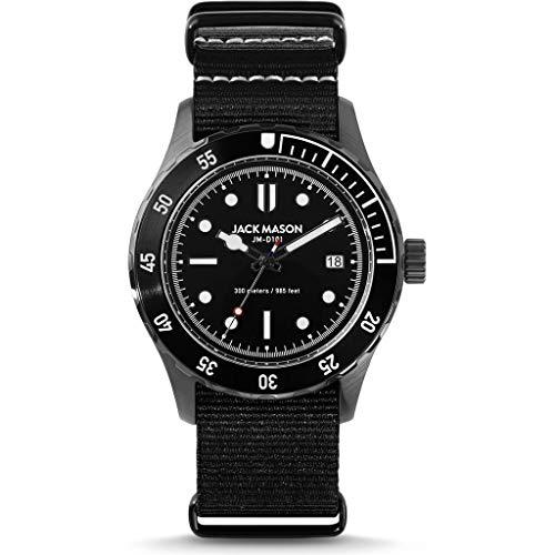 Jack Mason Diver Watch for Men (Black & Steel 42mm w/Black Nylon Strap)