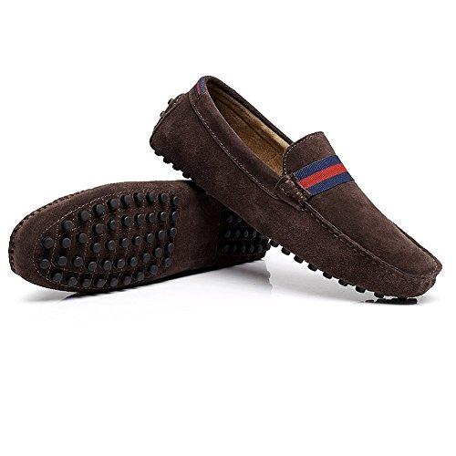 Shenn Último Diseño Hombres NATO-Correa Cuero Mocasines Ante Zapatos de Conducción 7588 marrón