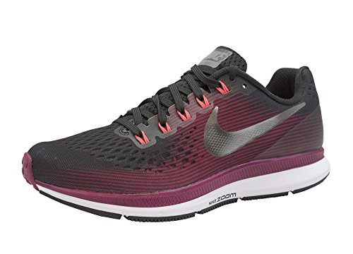NIKE Women's Air Zoom Pegasus 34 Running Shoe (Gem) Shadow Brown/Metallic Pewter/Rush Maroon Size 8 M US